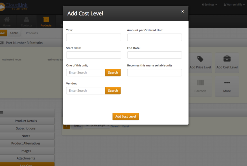 Create detailed cost levels by vendor, date, or product type.